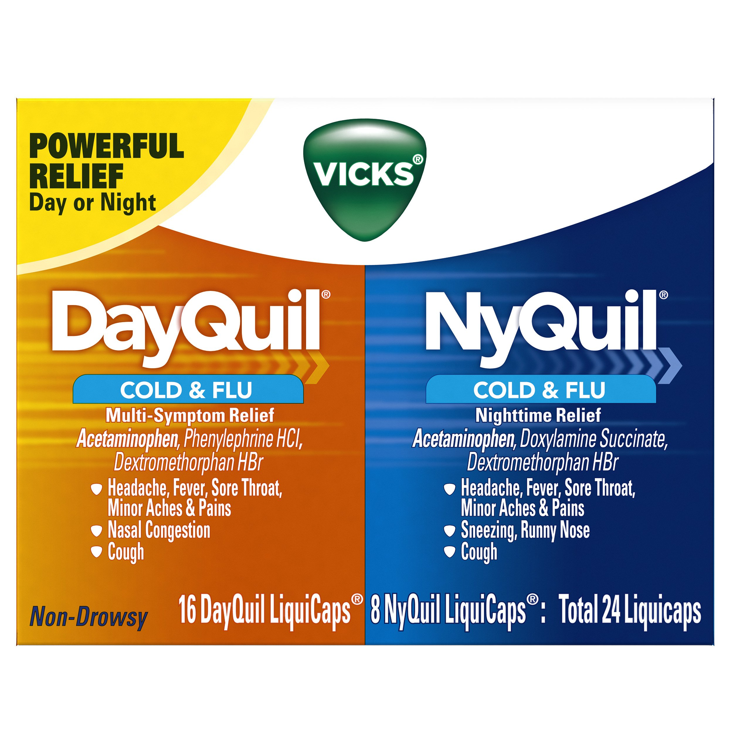 Vicks NyQuil Cold & Flu Nighttime Medicine and DayQuil Cold & Flu Medicine Convenience Pack 24 Count (Packaging May Vary)