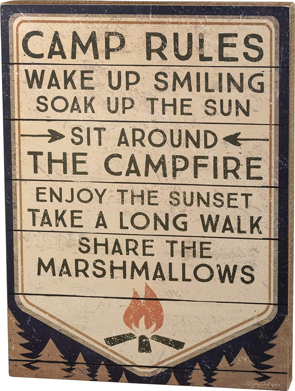 Primitives by Kathy Slat Wood Block Sign, 12 x 16-Inches, Camp Rules