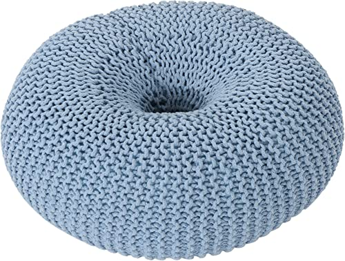 Christopher Knight Home Truda Knitted Cotton Donut Pouf, Light Blue