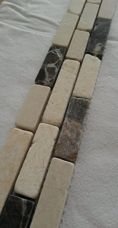 Bruchstein Mosaik Bord/üre 5x30 cm Naturstein Fliesen Emperador Dark Crema Marfil B613