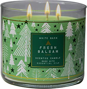 White Barn Bath and Body Works, 3-Wick Candle w/Essential Oils - 14.5 oz - 2020 Holidays Scents! (Fresh Balsam)