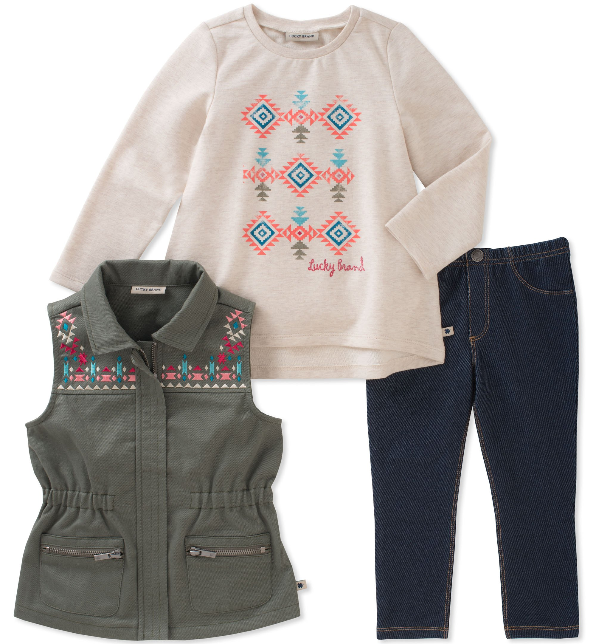Lucky Brand Toddler Girls' 3 Piece Vest Sets, Green/Oatmeal, 3T