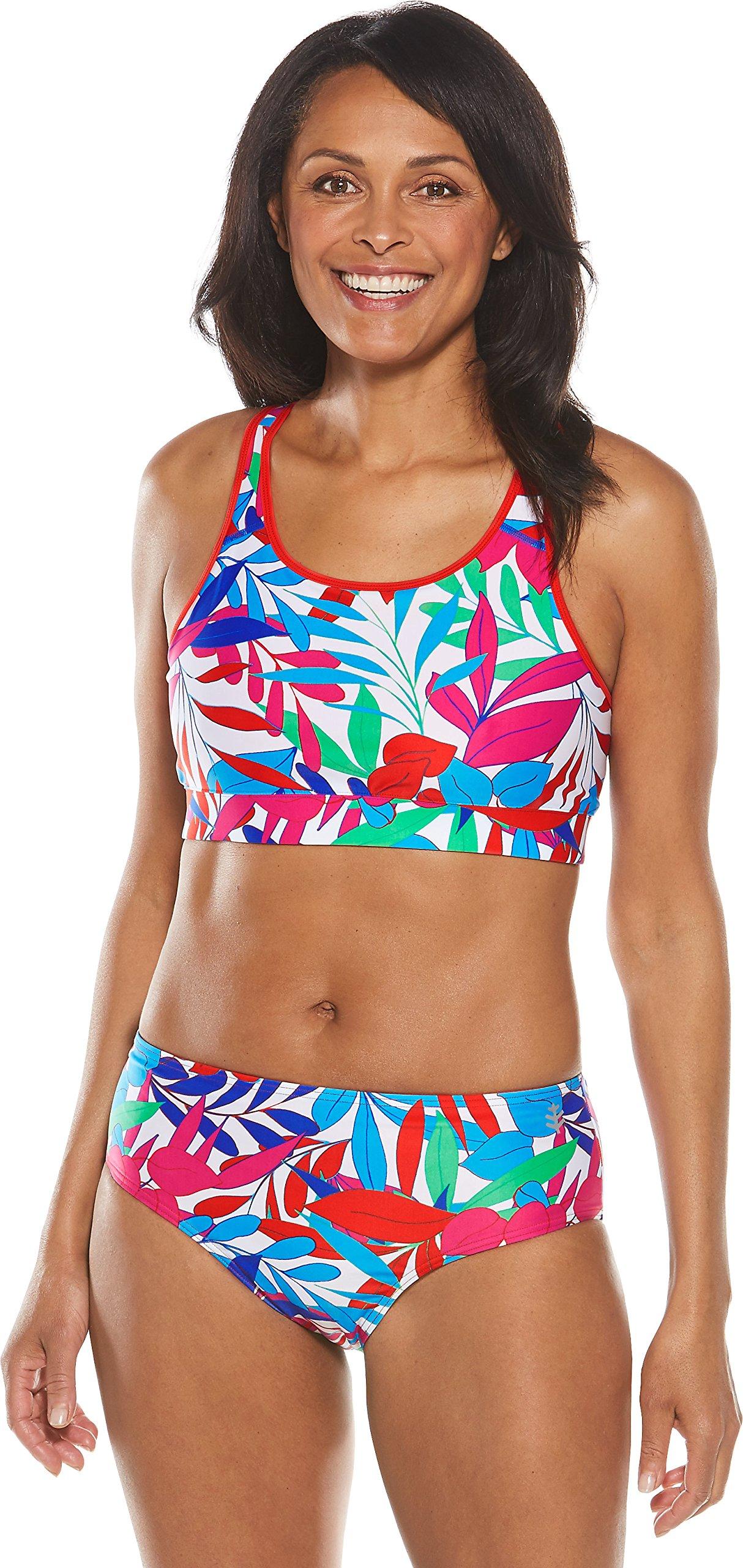 Coolibar UPF 50+ Women's Medley Swim Bra - Sun Protective (Medium- White Majestic Palms)