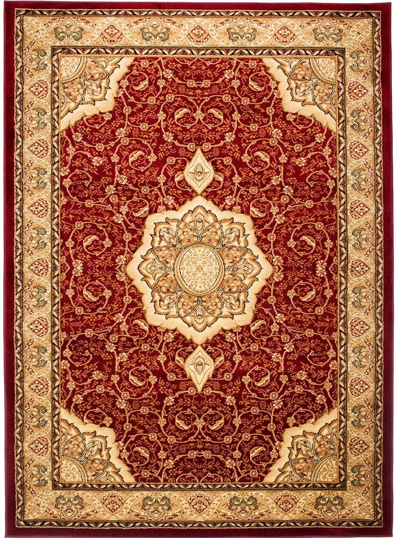 Tapiso YESEMEK Teppich Klassisch Kurzflor Orientalisch Teppiche in Rot Beige Gemustert Floral Ziegler Ornament Bordüre Barock Design Orientteppich Wohnzimmer ÖKOTEX 250 x 350 cm