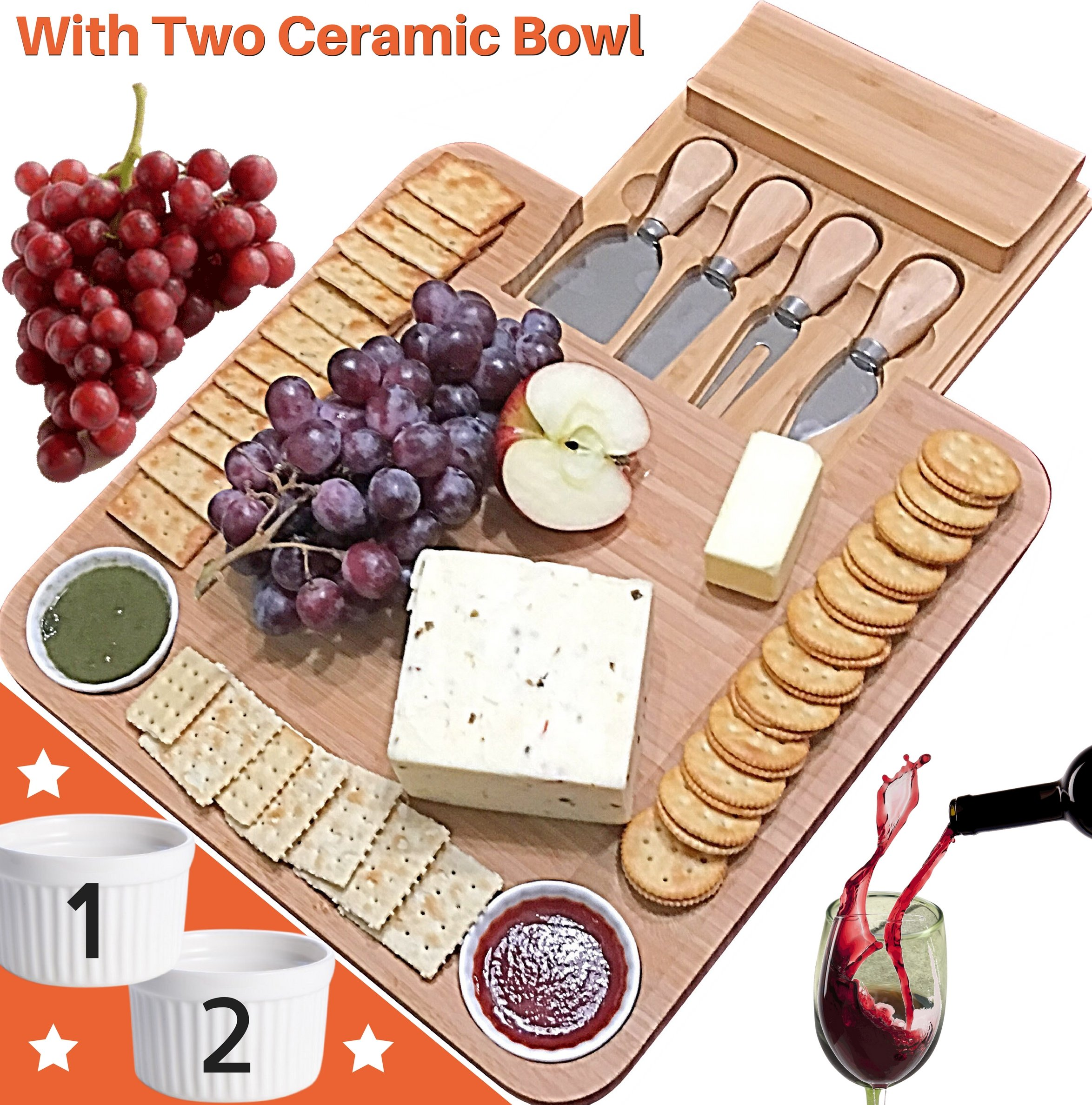... Housewarming Birthday Bamboo Cheese Board w/Cutlery Set Wood Charcuterie Platter u0026 Meat Server 4 Stainless Steel Knife 2 Bowl Slide-Out Drawer  sc 1 st  Amazon.com & Best Rated in Cheese Plates u0026 Helpful Customer Reviews - Amazon.com