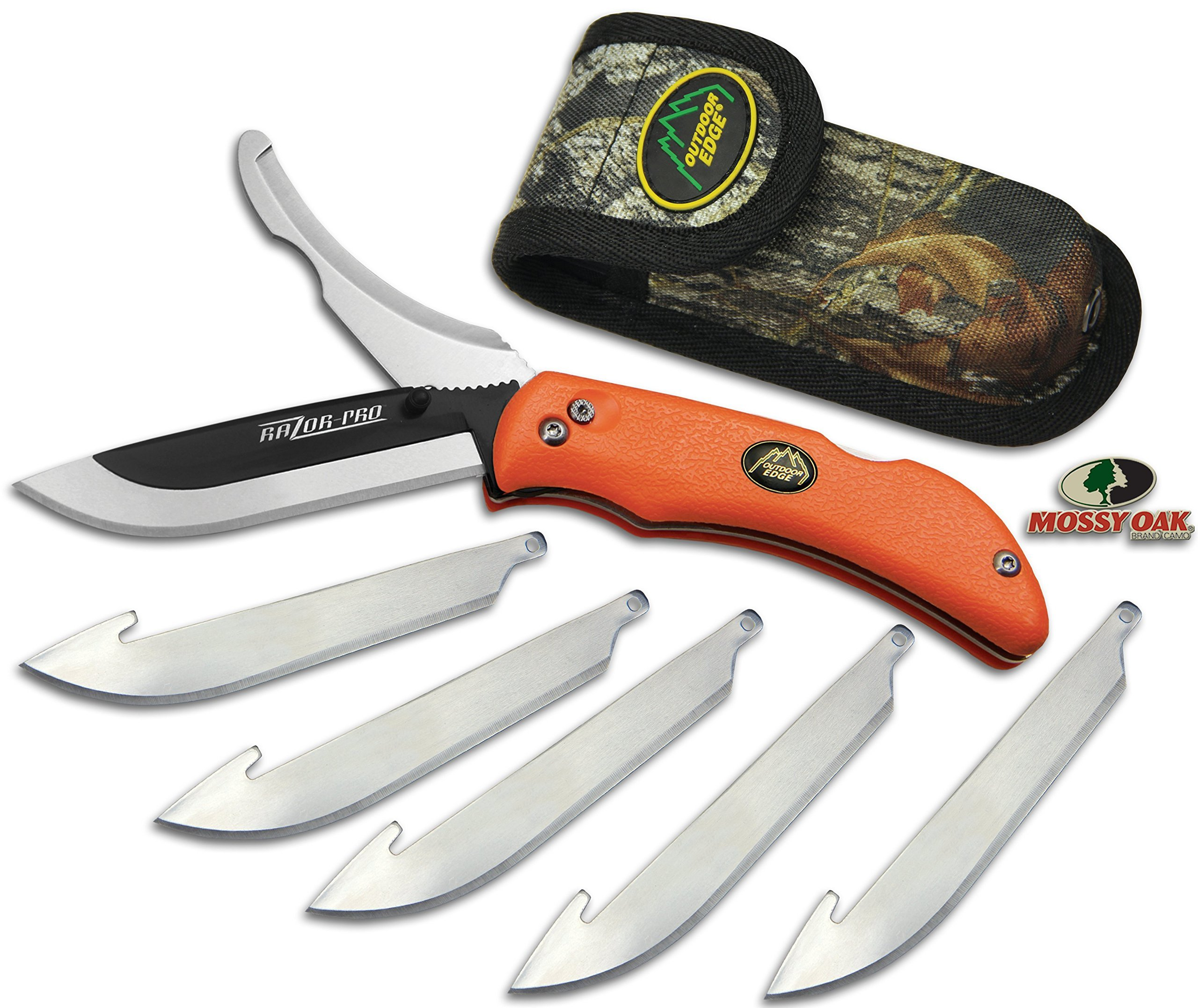 Outdoor Edge RazorPro, RO-20, Double Blade Folding Hunting Knife - Replacement Razor Blade, Gutting Blade, Blaze Orange Non-Slip TPR Handle, Mossy Oak Nylon Sheath by Outdoor Edge (Image #1)