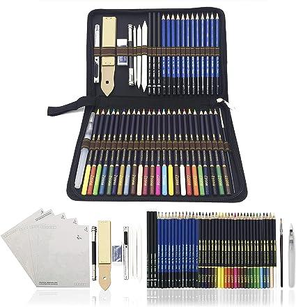 Lapices de Colores,Lapices Acuarelables,Lápices de Dibujo y Bosquejo Material de dibujo- 54Pcs Dibujo Artístico Profesional lápices Set en estuches escolares - Ideal para la pintura creativa: Amazon.es: Oficina y papelería