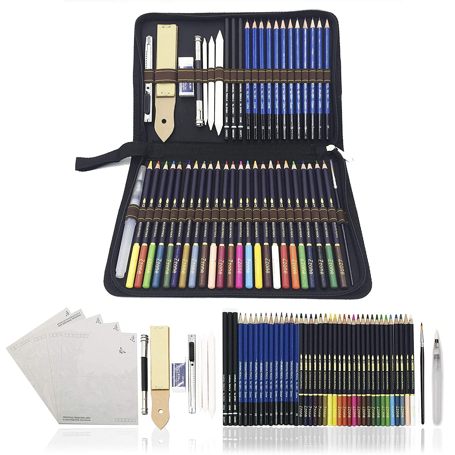 54pcs art colouring pencilswatercolour drawing pencils set sketch pencils with drawing tool in personalized large pencil casebest gift for students