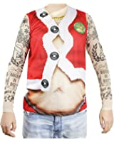 Faux Real Xmas Tattoo Santa Suit Printed T-Shirt, Adult Size Small