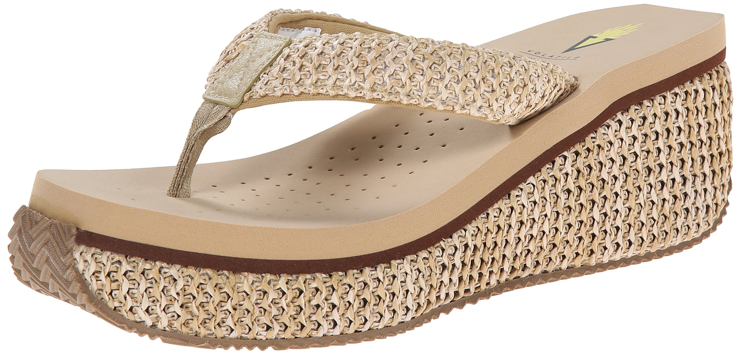 Volatile Women's Island Wedge Sandal, Natural, 7 B US