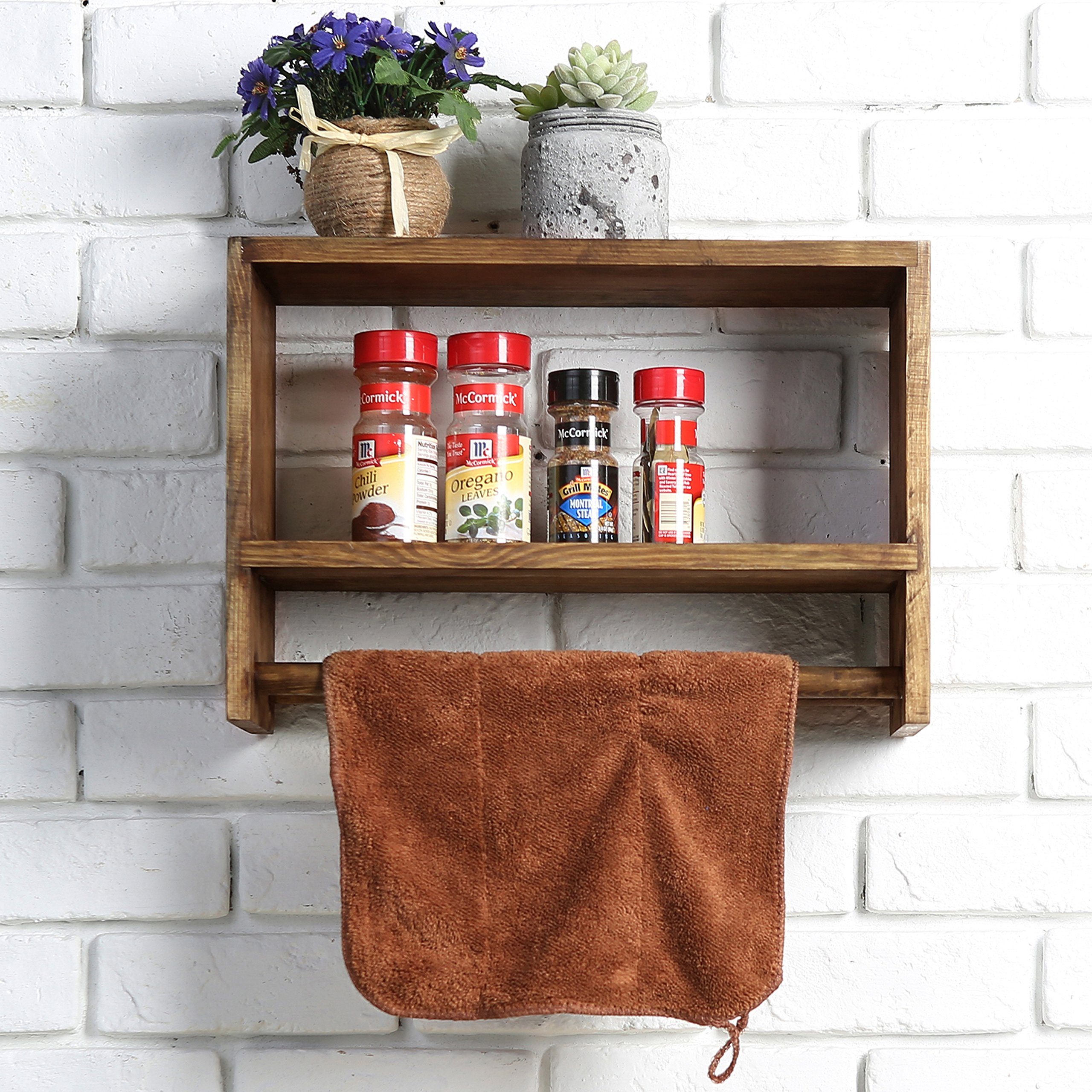Rustic Wall Mounted Wood Spice Rack, Kitchen Floating Shelf with Double Towel Bar