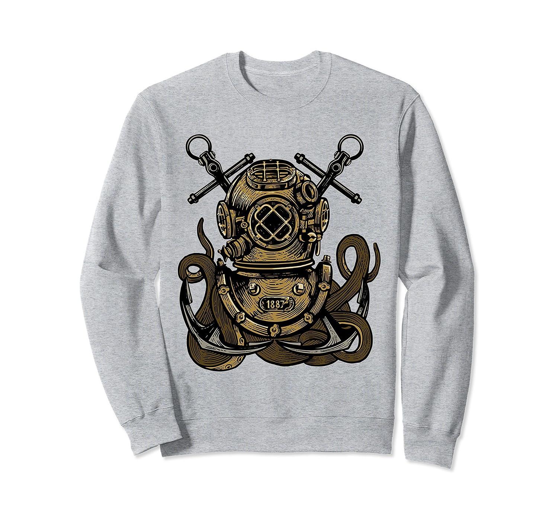 Vintage Deep Sea Diver Helmet Kraken Tentacles Sweatshirt