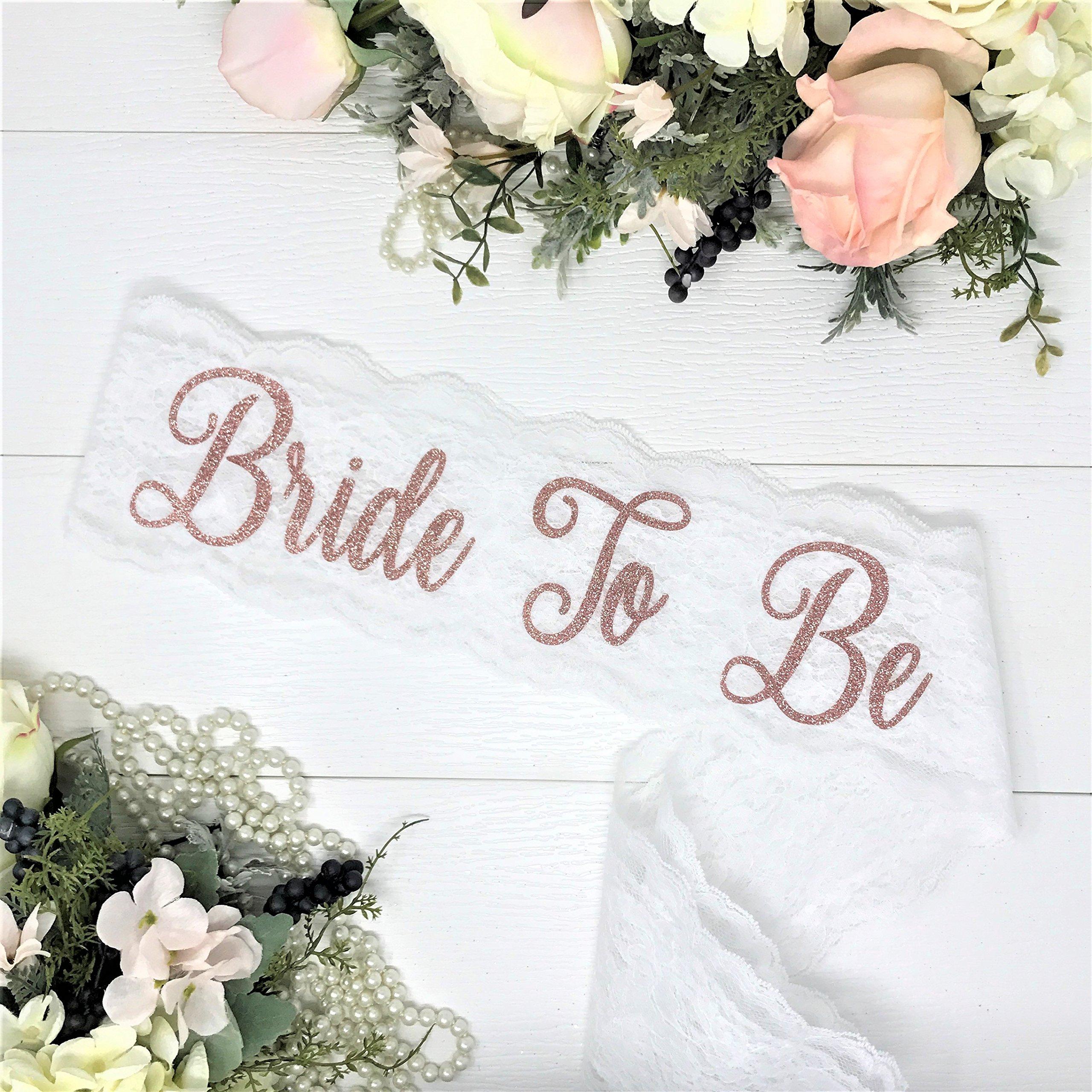 Lace Bachelorette Sash - White Lace - Rose Gold ''Bride To Be''