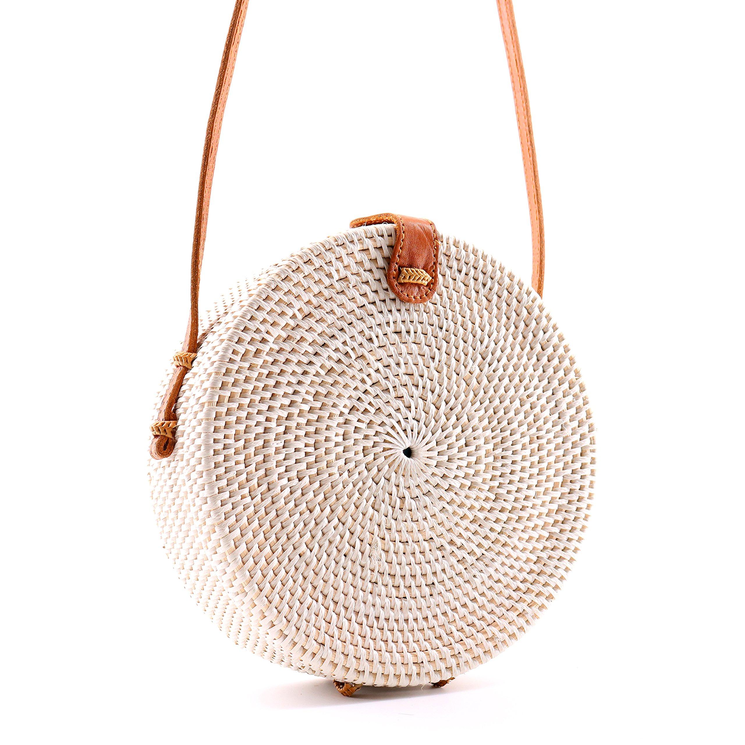 Seven Island Women Vintage Handmade Bali Round Straw Rattan Shoulder Leather Strap Button Snap Crossbody Messenger Satchel Beach Handbag Bag (White, 20cm)