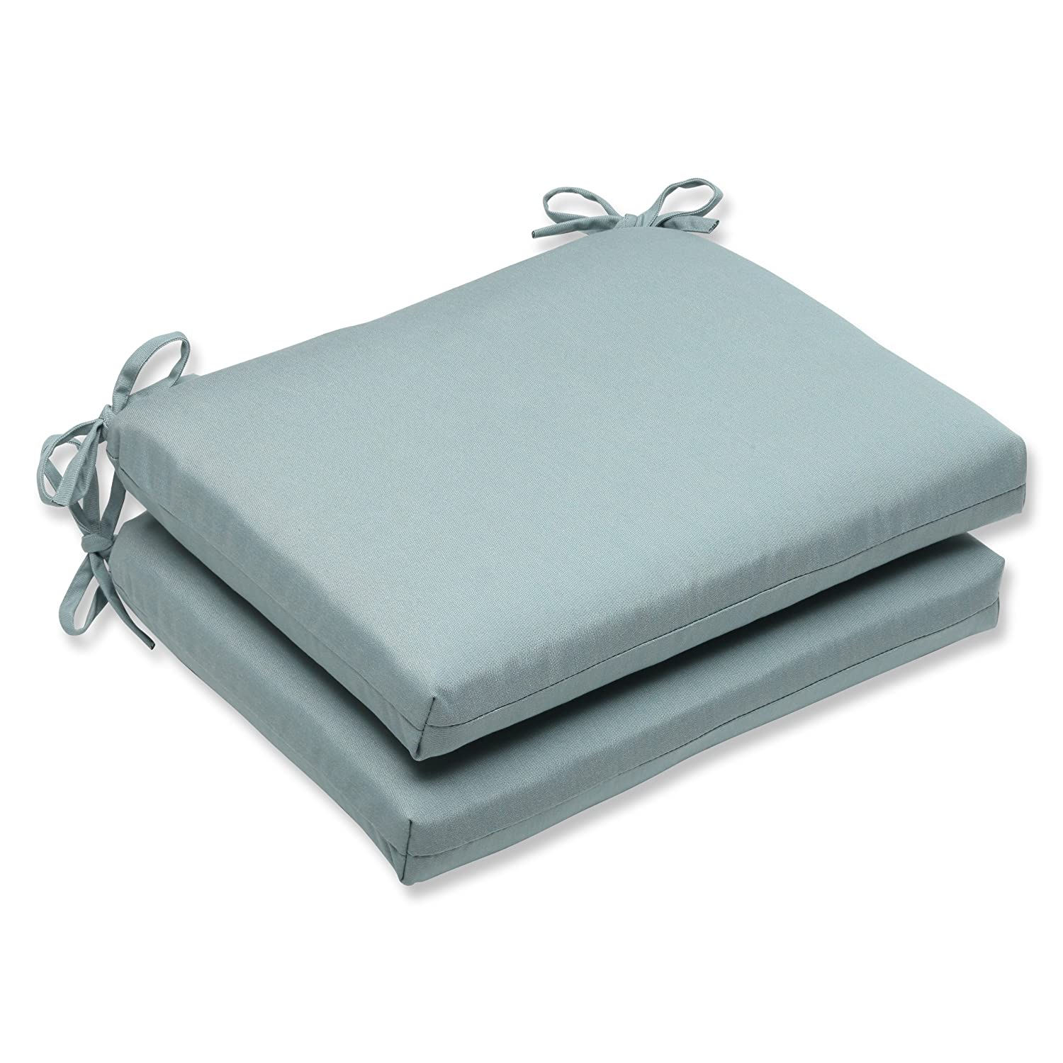 Pillow Perfect Indoor Outdoor Squared Corners Seat Cushion with Sunbrella Canvas Spa Fabric, Set of 2, 18.5 in. L X 16 in. W X 3 in. D, Blue