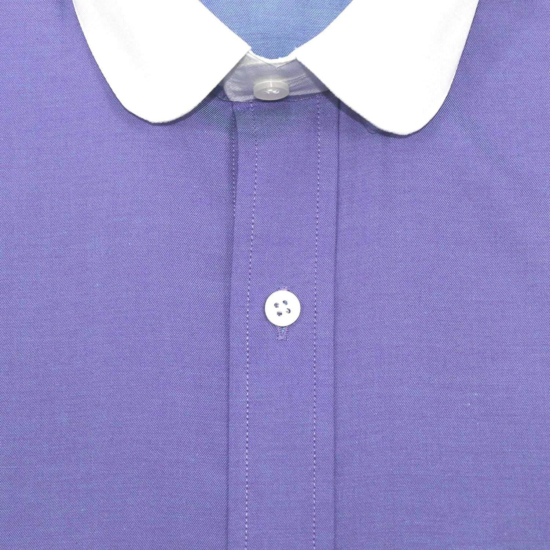 Peaky Blinders Camicia Colletto Penny Viola Scuro Vintage Rotondo Club Cotone Colletto da Uomo Manica Lunga Prime 800-04