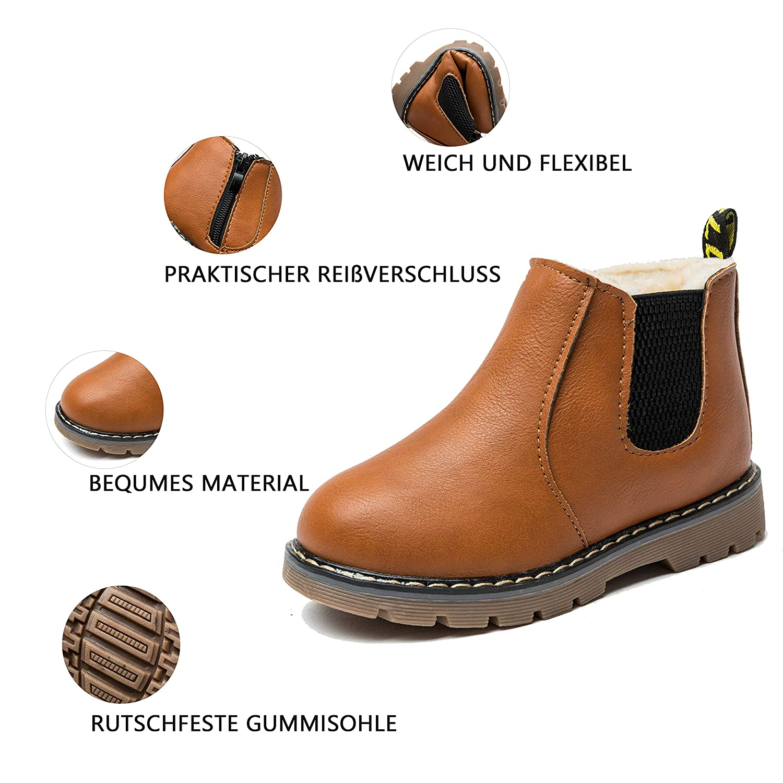 Fille Cheville Bottes de Fille Chaud Chaussures dhiver pour Enfant B/éb/é Nasonberg Bottines de Neige Gar/çon