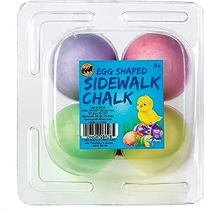 POOF Egg-Shaped Pastel Colored Sidewalk Chalk, 4-Pack, Assorted Colors