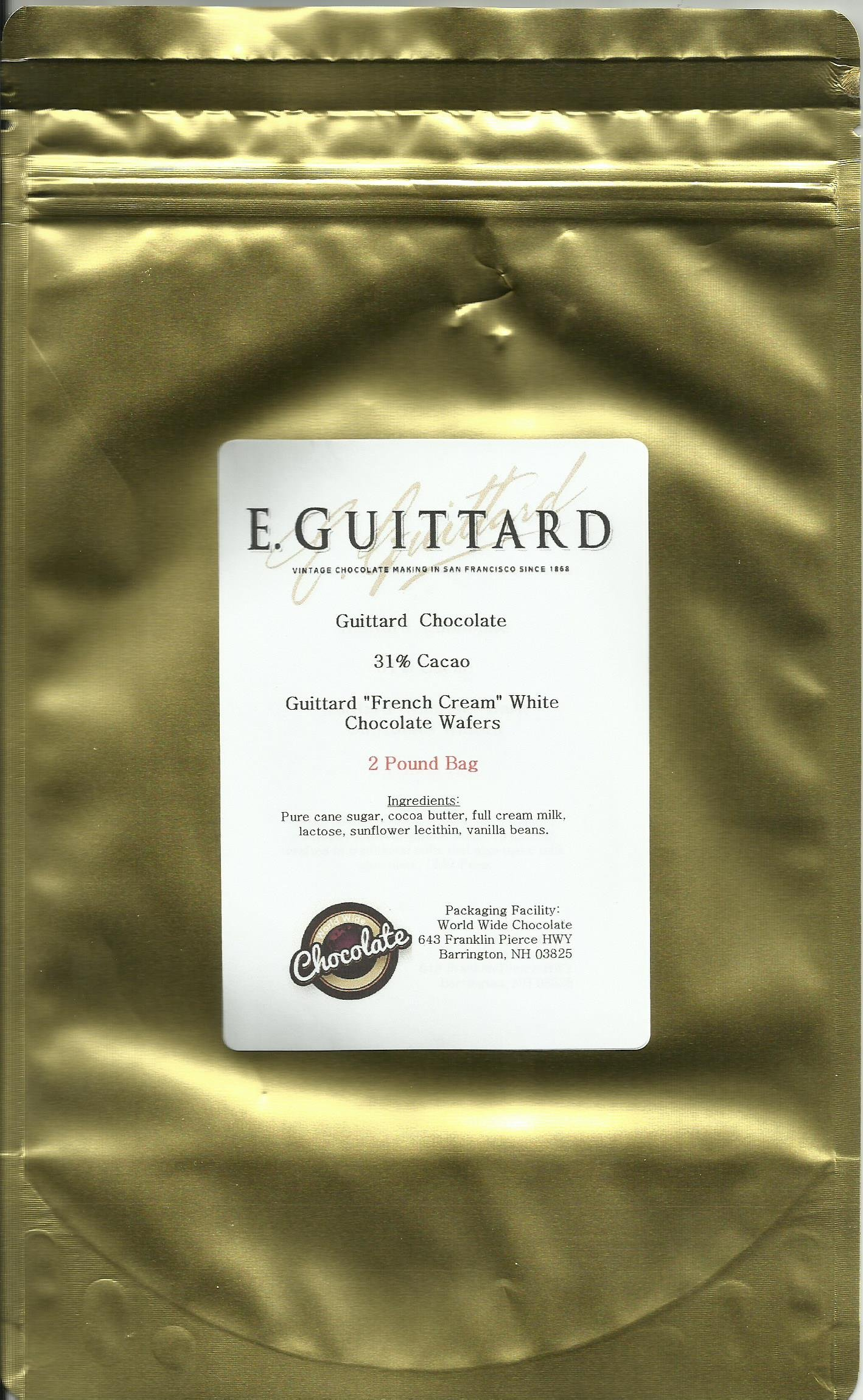 E. Guittard Chocolate - ''Creme Francaise'' (French Cream) White Chocolate Wafers for Baking and Eating, 31% Cocoa, Gold Bag, 2 Pounds
