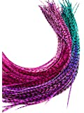 Feather Hair Extensions, 100% Real Rooster Feathers and bead loop kit, 20 Long Thin Pink, Purple Turquoise Ombre Tie Dye…