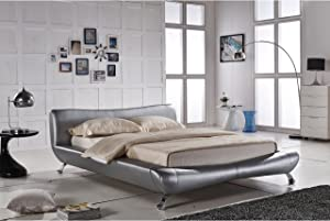 Container Furniture Direct Joyce Collection Contemporary Faux Leather Platform Bed with Headboard, Silver, King