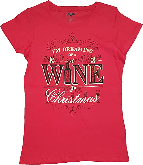35acc289e Holiday Time Christmas I'm Dreaming of a Wine Christmas Red Graphic T-Shirt