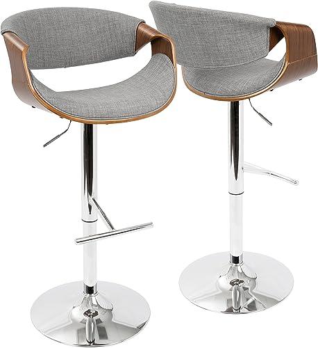 ModHaus Living Mid Century Modern Wood Upholstered Swivel Counter Barstool