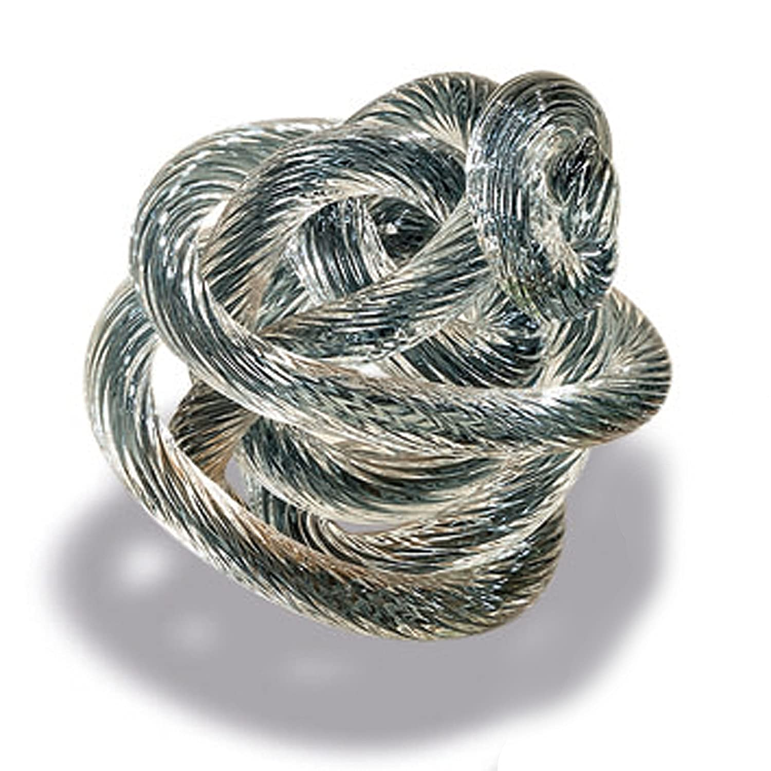 WHW Whole House Worlds Infinity Knot Art Glass 3 1//2 Inches Braided Clear with Silvery Blue Core Hand Blown Artisan Crafted Table Top Sculpture