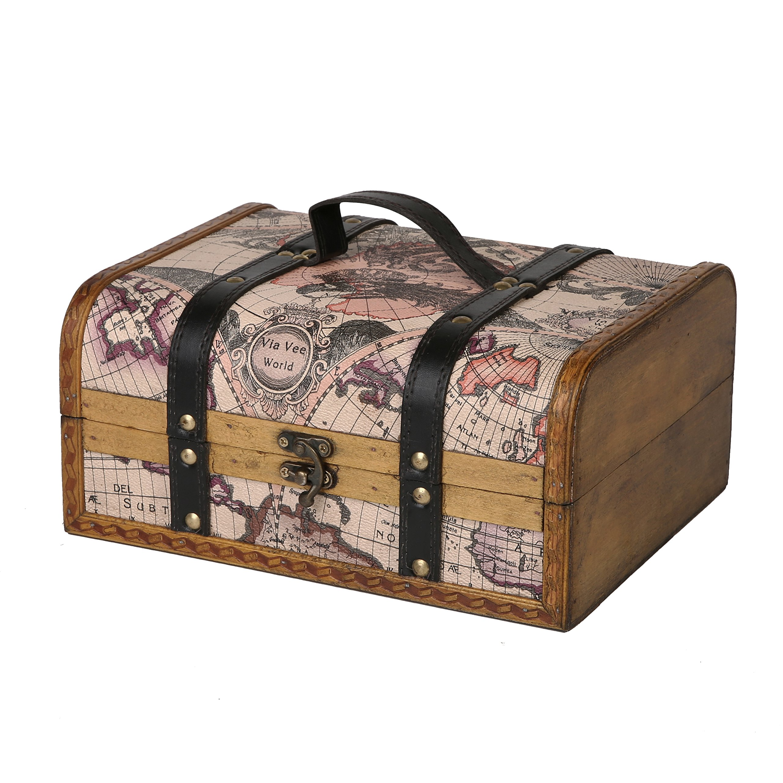 SLPR Maiden Voyage Wooden Box (Travel) | Vintage Themed Old Map Decorative Treasure Stash Trunk Old-Fashioned Antique Vintage Style for Birthday Parties Wedding Decoration