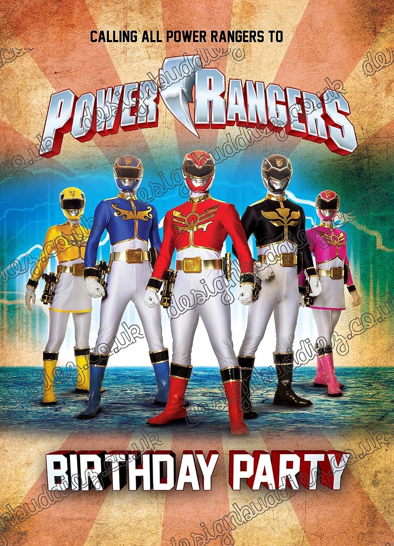 10 Invitaciones De Cumpleaños Con Diseño De Los Power Rangers Con 10 Sobres Gratis 10