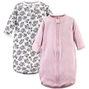 Hudson Baby Unisex Baby Safe Sleep Wearable Long-Sleeve Sleeping Bag, Toile 2-Pack, 0-3 Months (3M)