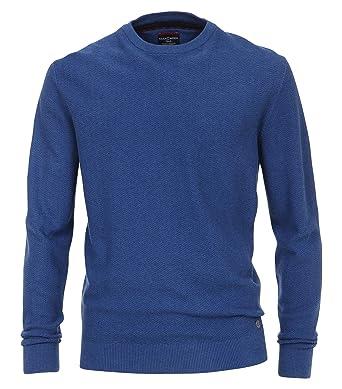 Casa Moda - Herren Pullover mit Rundhalsausschnitt und modischem Webmuster  in Blau (472779000A), b69603ab27