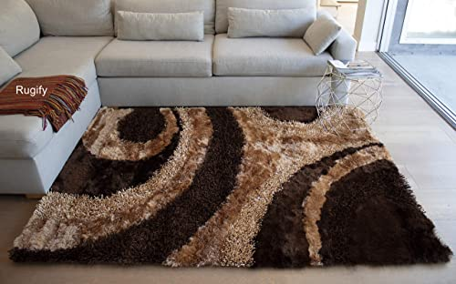 3D Shaggy Shag Fluffy Fuzzy Furry Hand Woven Modern Non-Skid Thick Pile Plush Decorative Designer Bedroom Living Room 8-Feet-by-10-Feet Polyester Made Area Rug Carpet Rug Brown Beige Gold Color