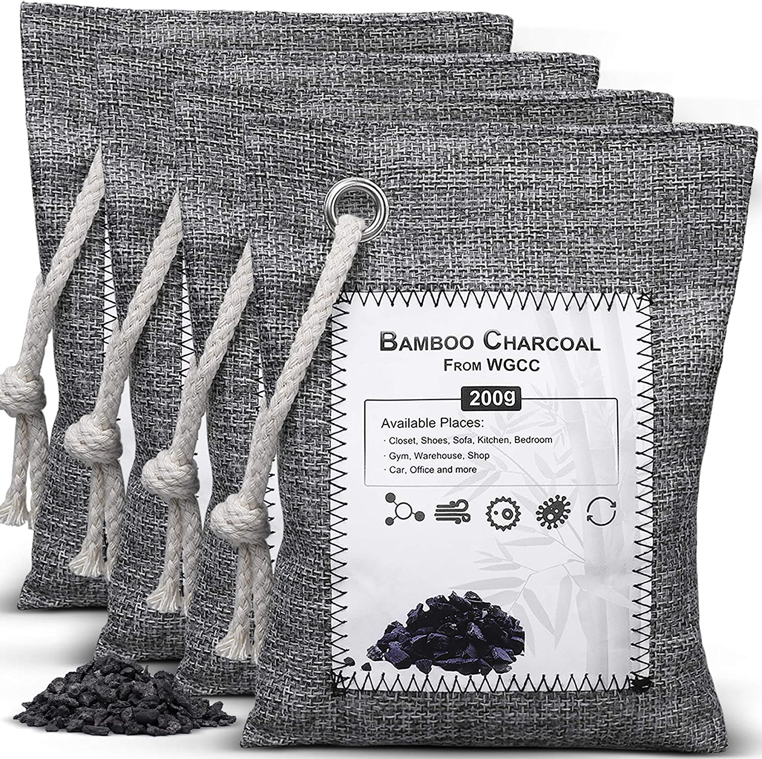 WGCC Activated Bamboo Charcoal Air Purifying Bags, [4 Pack 200g Each] Natural Fresh Bags Odor eliminators Absorber - Kid & Pet Friendly Air Fresheners for Home, Car, Shoes, Closet, Pets and Basement