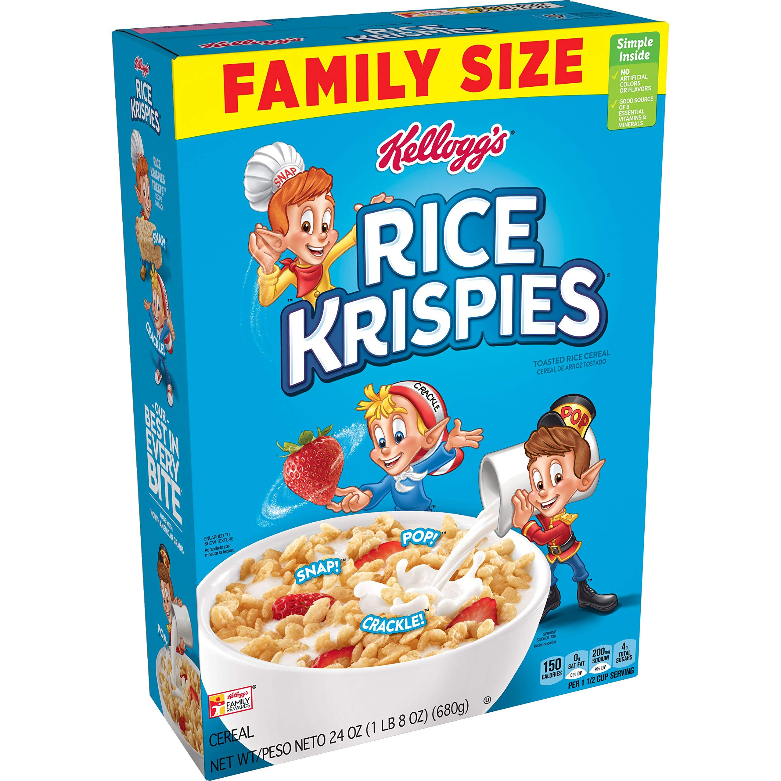 Kellogg's Rice Krispies, Breakfast Cereal, Original, No Artificial Colors or Flavors, Family Size, 24oz Box