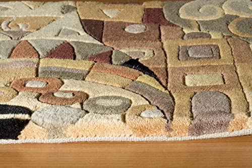 Momeni Rugs New Wave Collection, 100 Wool Hand Carved Tufted Contemporary Area Rug, 2 x 3 , Multicolor