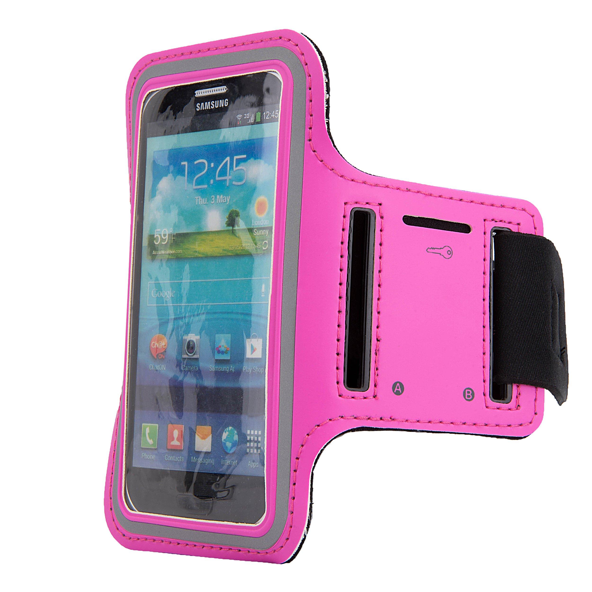 SumacLife Workout Smartphone Armband with Key Slot for iPhone 5s/Z3/Lumia/Moto - Rose