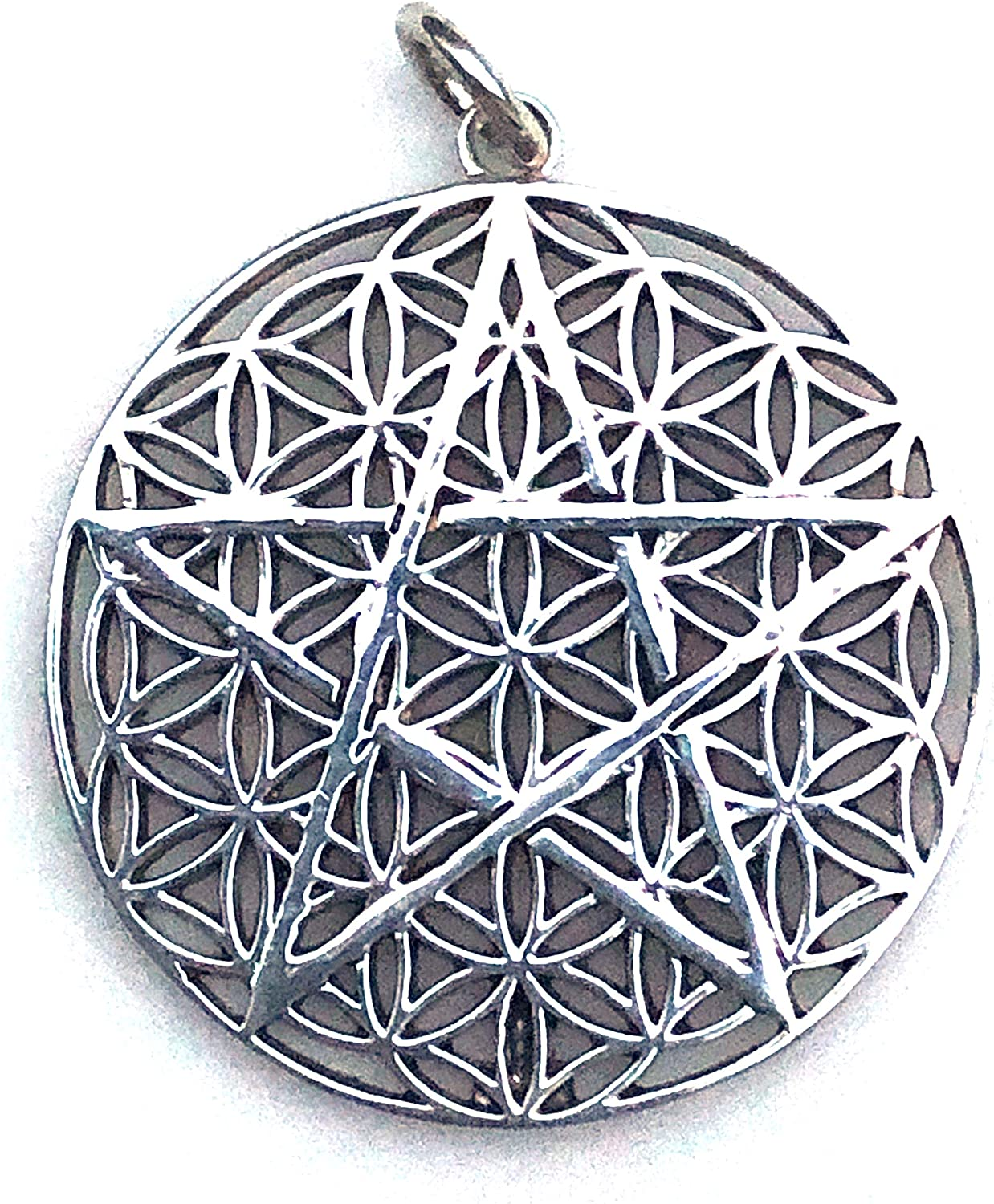 Pentagram Pendant |Spiritual Jewelry for Men and Women 30 mm 9.2 GMS Sterling Silver Earth Solutions Flower of Life
