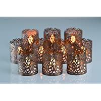 POP STREET Flameless Tea Light Laser Cut Decorative Wraps Candles Holders- 50PCS for Flickering LED Battery Tealight Candles (not Included)
