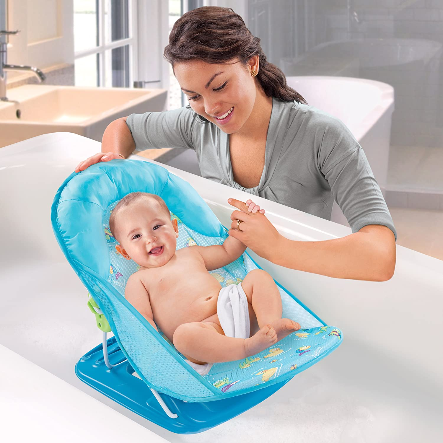 Baby bath chairs for the tub - Amazon Com Summer Infant Deluxe Baby Bather Blue Baby Bathing Seats And Tubs Baby