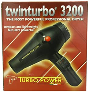 Pibbs Twinturbo 3200 1900 watt Compact Lightweight Hair Dryer, Black