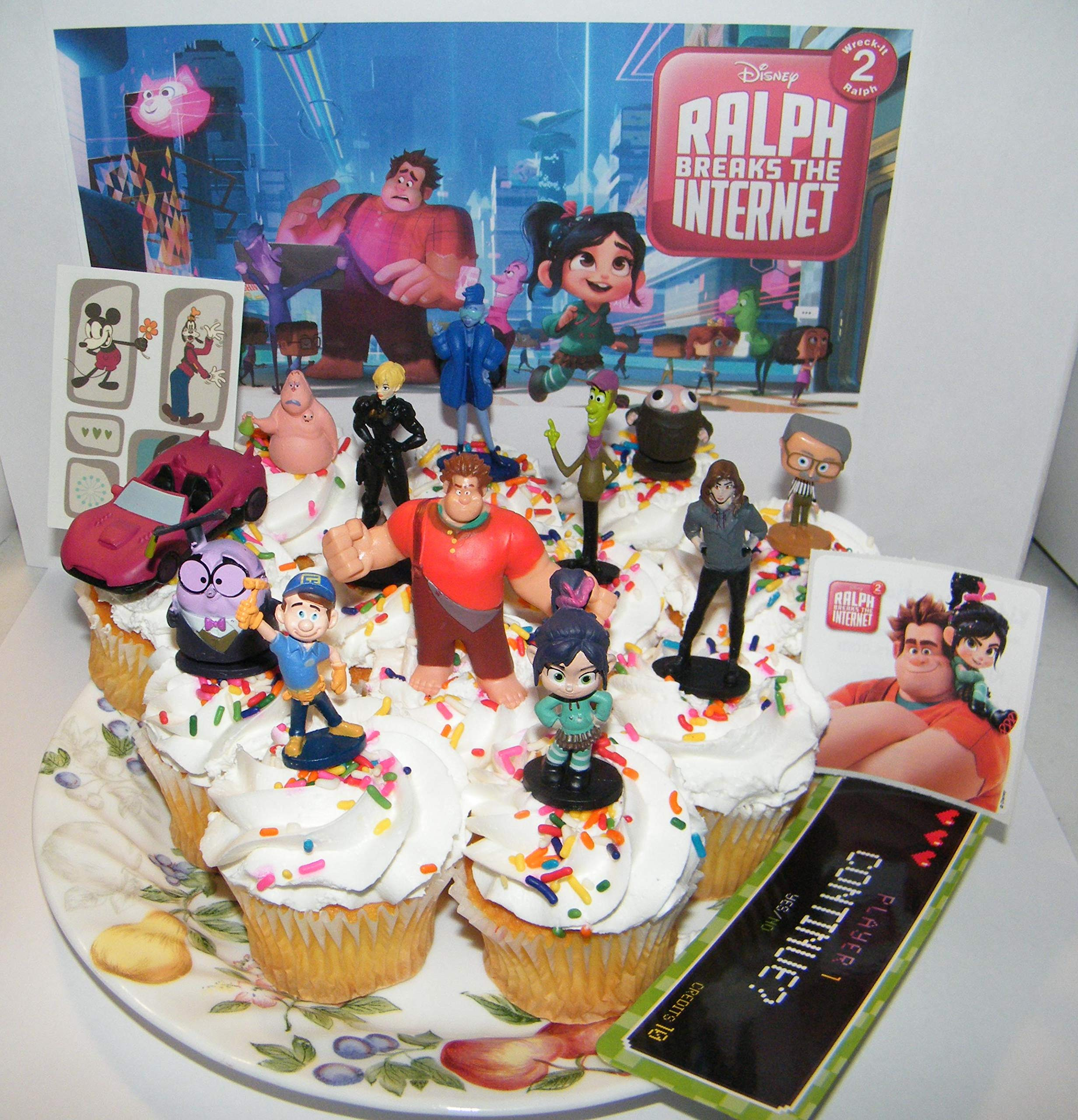 Ralph Breaks the Internet Deluxe Cake Toppers Cupcake Decorations Set of 15 with 12 Figures Featuring New and Classic Characters, Race Car, Sticker and More!