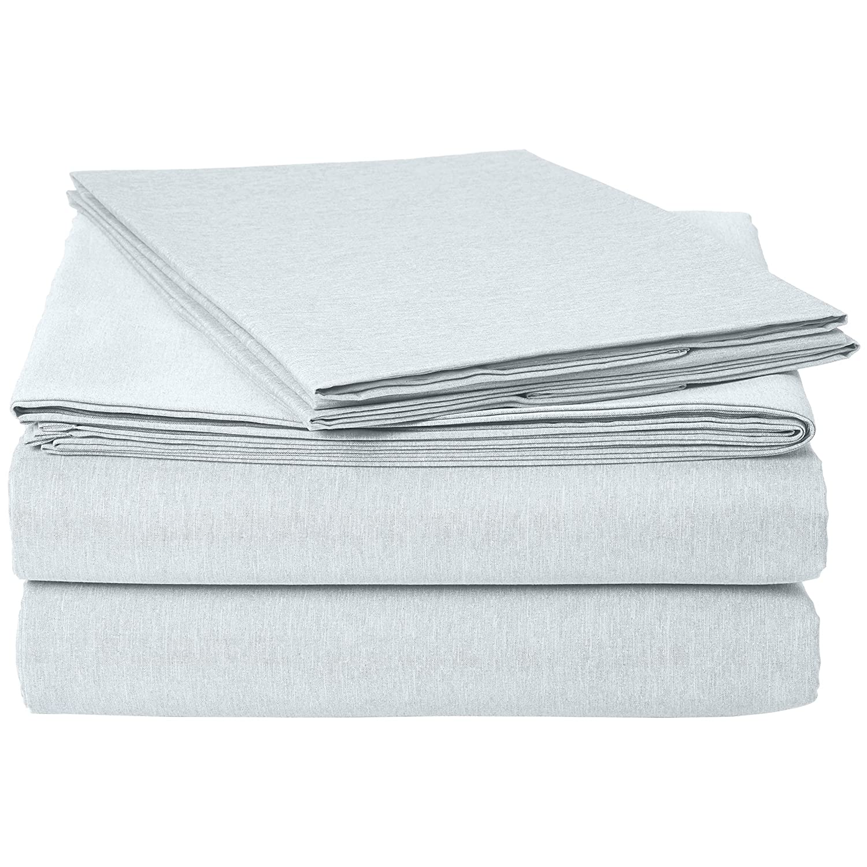 AmazonBasics Chambray Bed Sheet Set - Queen, Cool Aqua