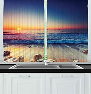 Ambesonne Kitchen Decor Collection, Sunset View on the Beach Shore Waves Surf Modern Home Decor Rocks Boats Sea Scenery, Window Treatments for Kitchen Curtains 2 Panels, 55X39 Inches, Blue Orange