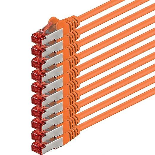 28 opinioni per 2m- arancione- 10 pezzi- Rete Cavi Cat6 | S-FTP | CAT 6 | doppia schermatura |