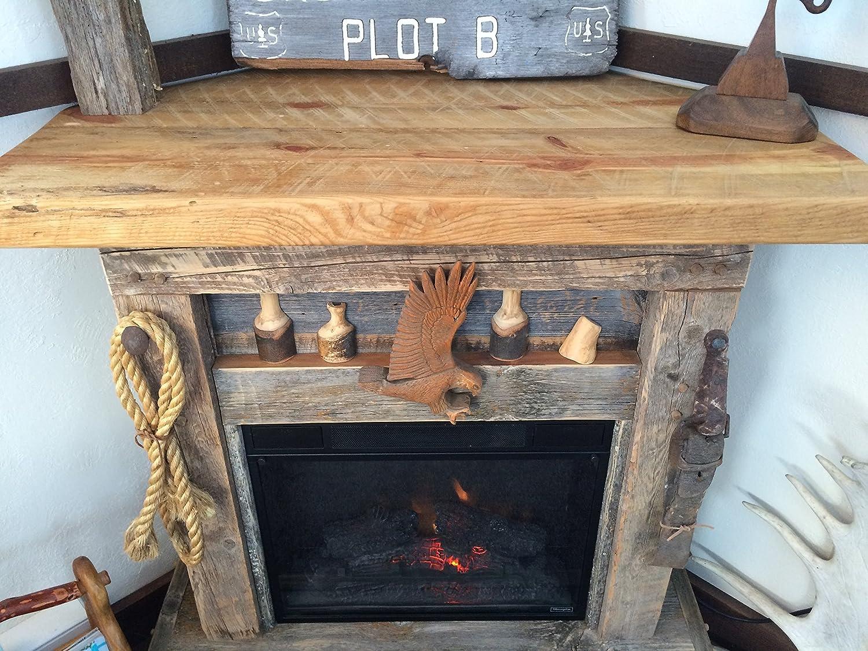 walker p barnwood inch tv edison corner stand fireplace