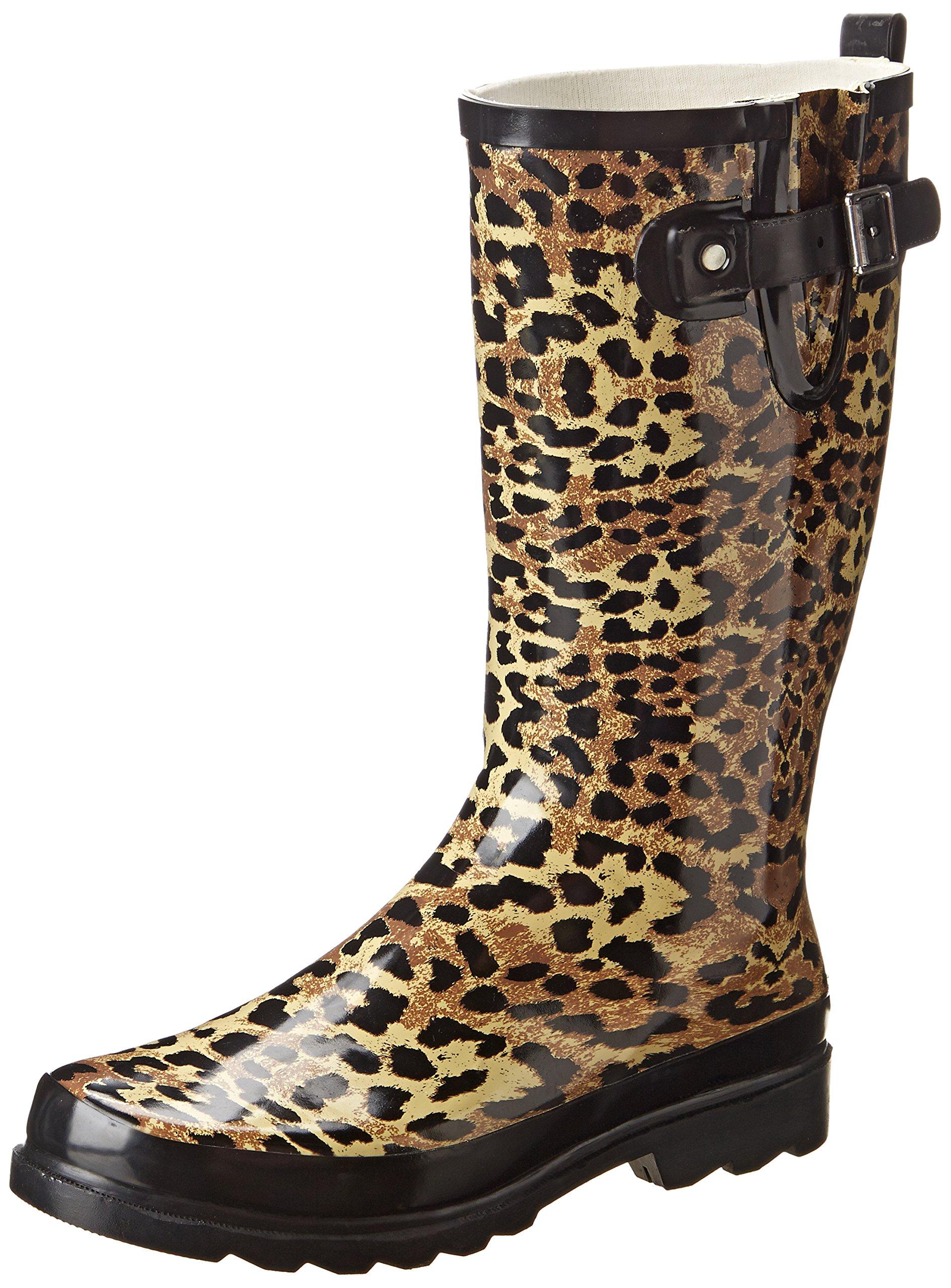 Western Chief Women's Leopard Exotic Rain Boot,Tan,10 M US
