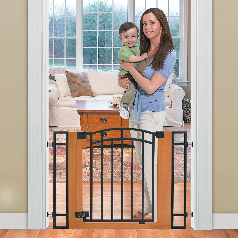 amazoncom  summer infant wood and metal walkthru gate brown  - amazoncom  summer infant wood and metal walkthru gate brownblack indoor safety gates  baby
