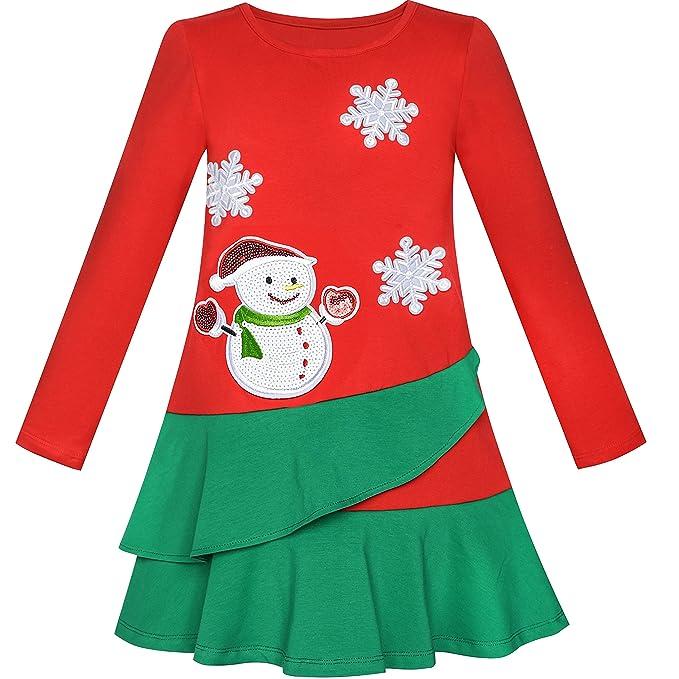 Vestido para niña Manga Larga Navidad Monigote de Nieve Fiesta Fiesta 5 años