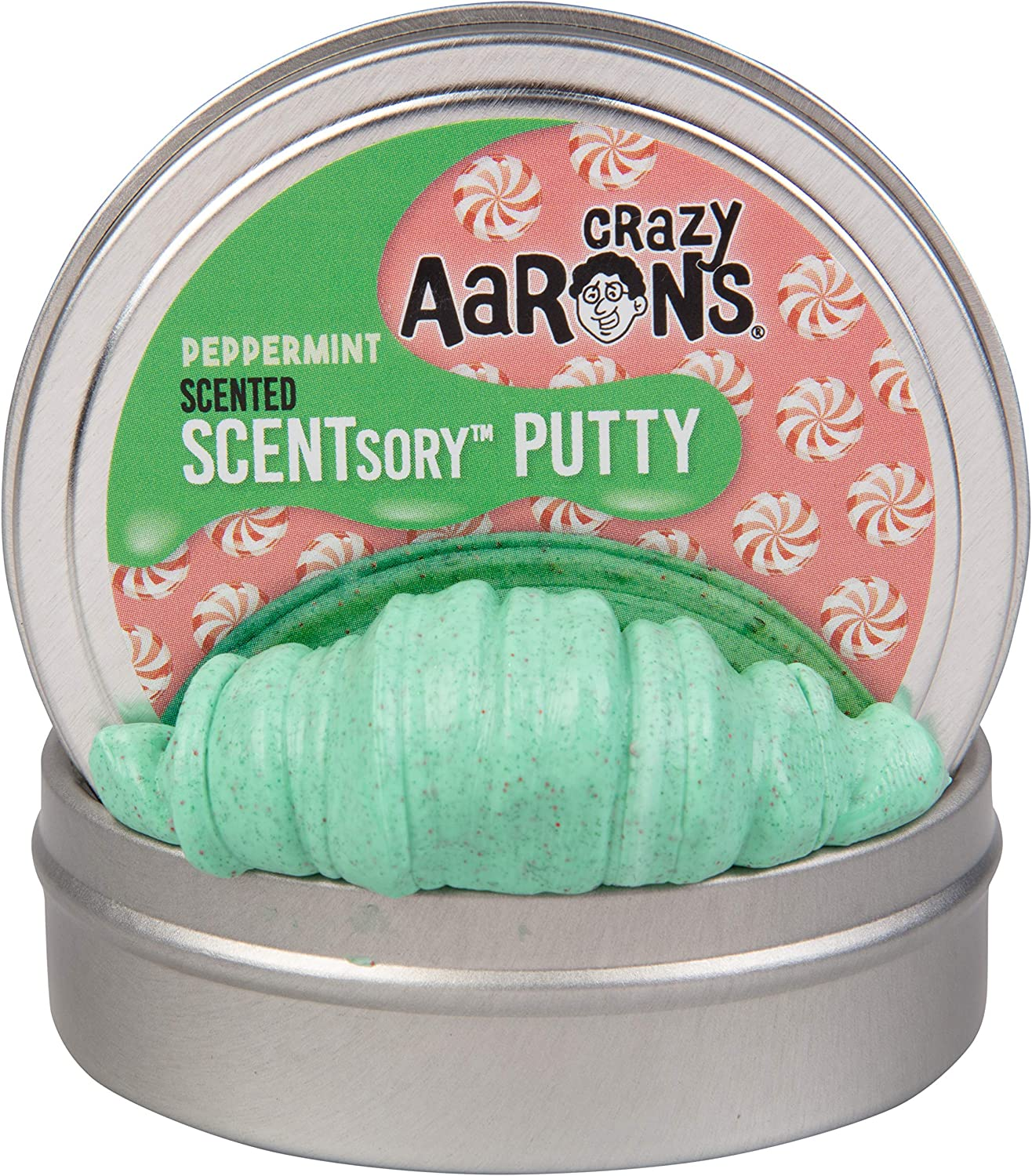 "Crazy Aaron's Holiday Scented Thinking Putty 2.75"" Tin (1.2 oz) - Holiday (Christmas) Edition - Wintermint - Never Dries Out"